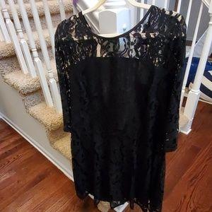 Black Lace Sleeve Dress Size 14
